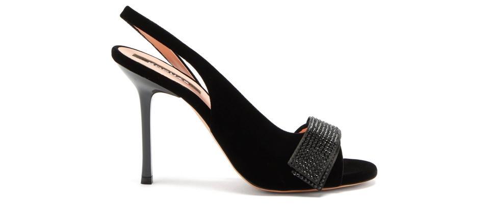 Crystal-Embellished Velvet Slingback Sandals by Rochas
