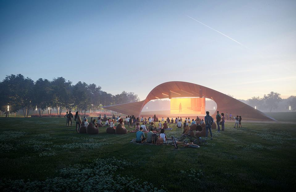 The great lawn in the park will be the site of various cultural events.