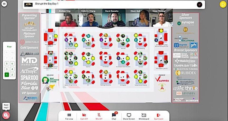 Screenshot of events management platform Vsummits