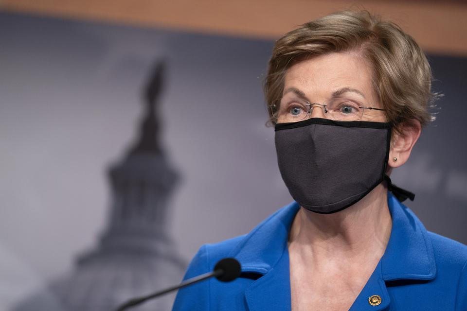 Elizabeth Warren wearing a mask