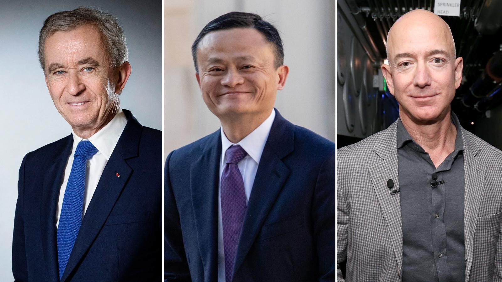 Bernard Arnault, Jack Ma, Jeff Bezos.