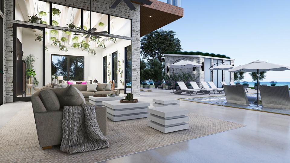 Outdoor living area of virtual showcase home.