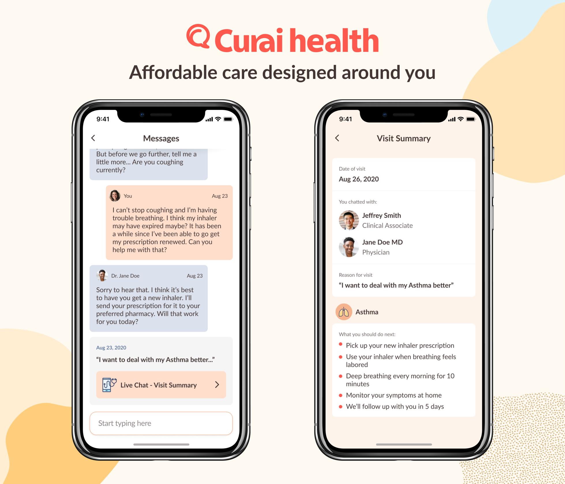 Screenshot of Curai app.