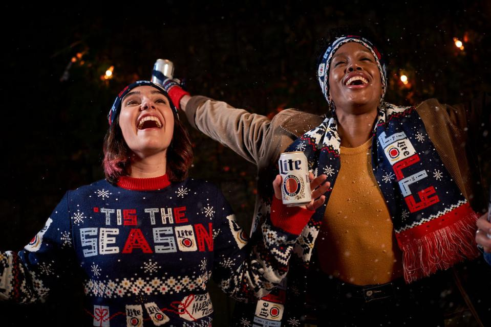 Miller Lite offers more than just ugly sweaters in its holiday knitwear.
