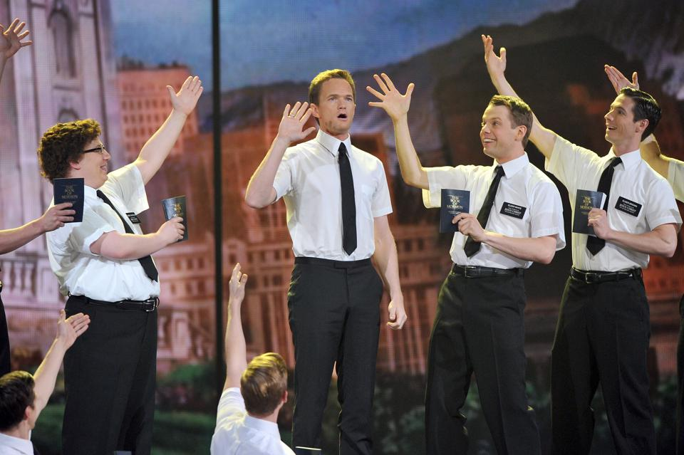 Neil Patrick Harris performing with the cast of 'Book of Mormon' at the Tony Awards