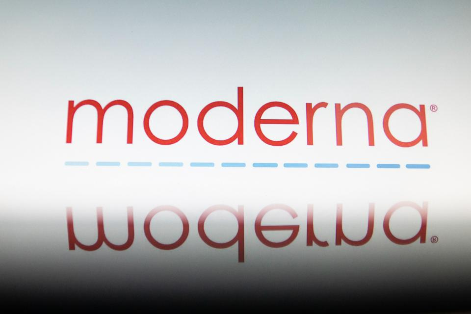 Illustration Of Moderna Logo With A Syringe