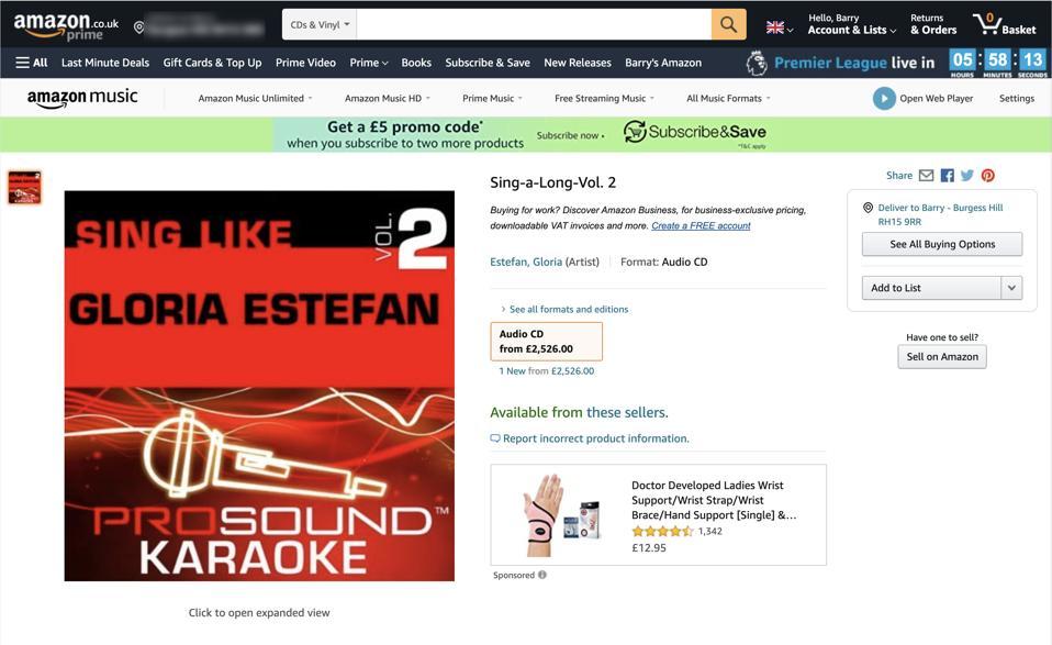 Amazon listing for Gloria Estefan karaoke CD