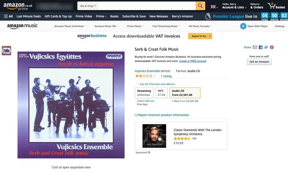 CD listing on Amazon UK