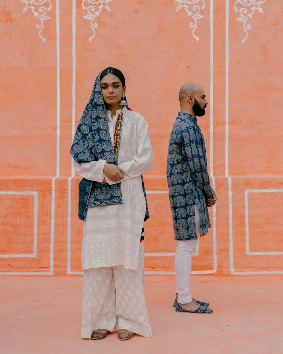 Models in block print Aman Kay Rang ensembles.