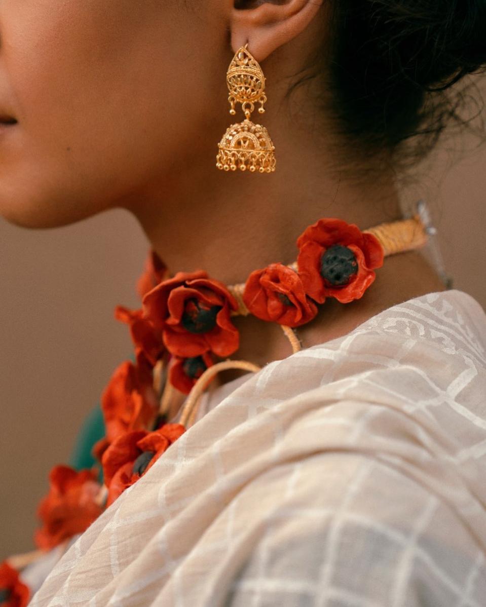 A pure cotton block print sari by Aman Kay Rang.
