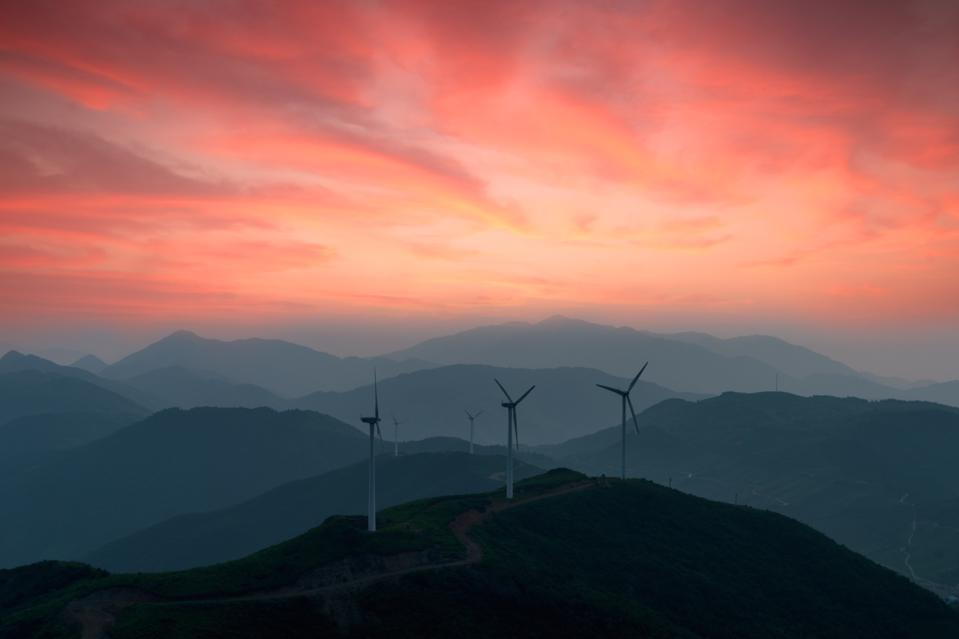 dramatic view of windmills in China