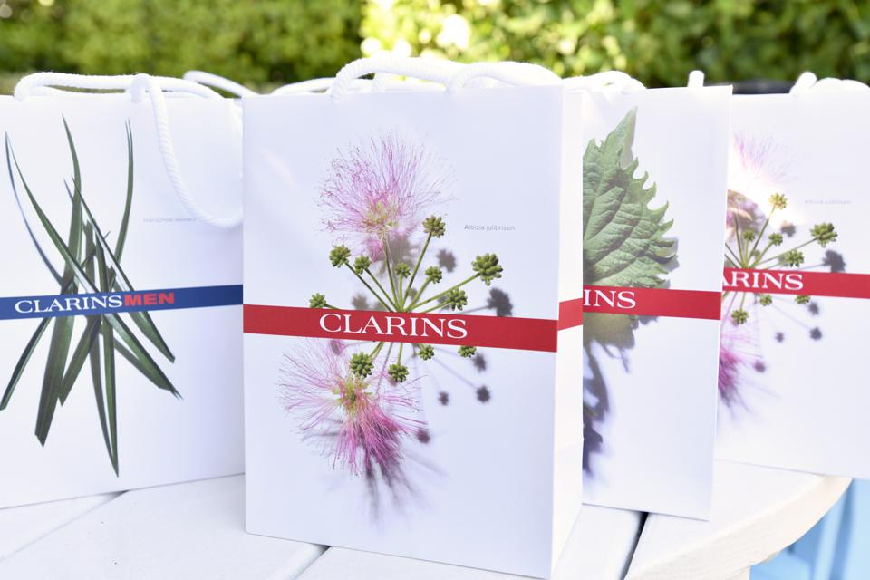 Clarins packs of natural herbs and plants for cosmetics