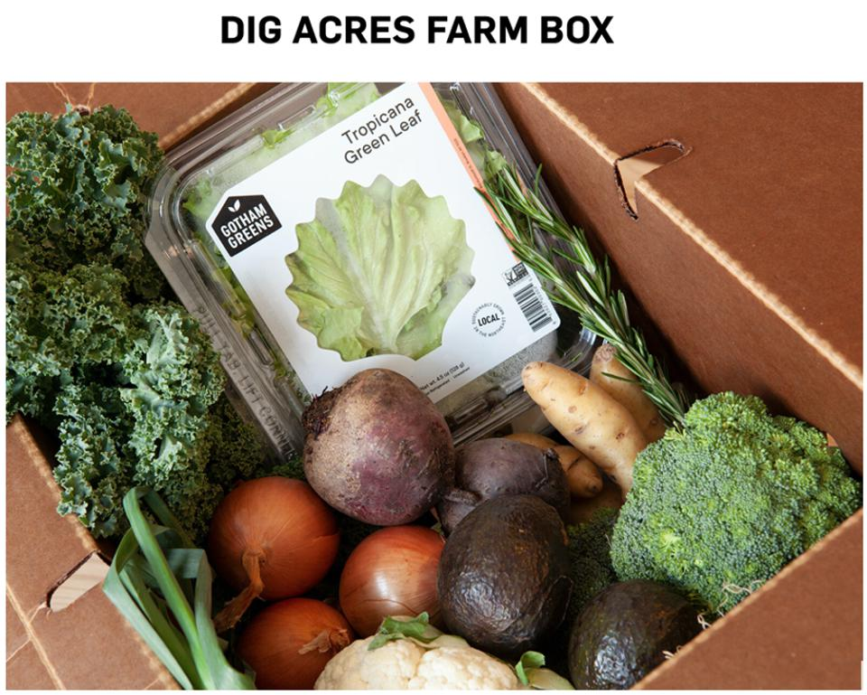 Box of produce from Dig Acres, the farm where Dig restaurants source some of their ingredients