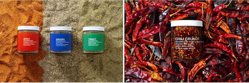 New line of Momofuku restaurant flavor seasoning salts and spicy, chili crunch, available from shop.momofuku.com