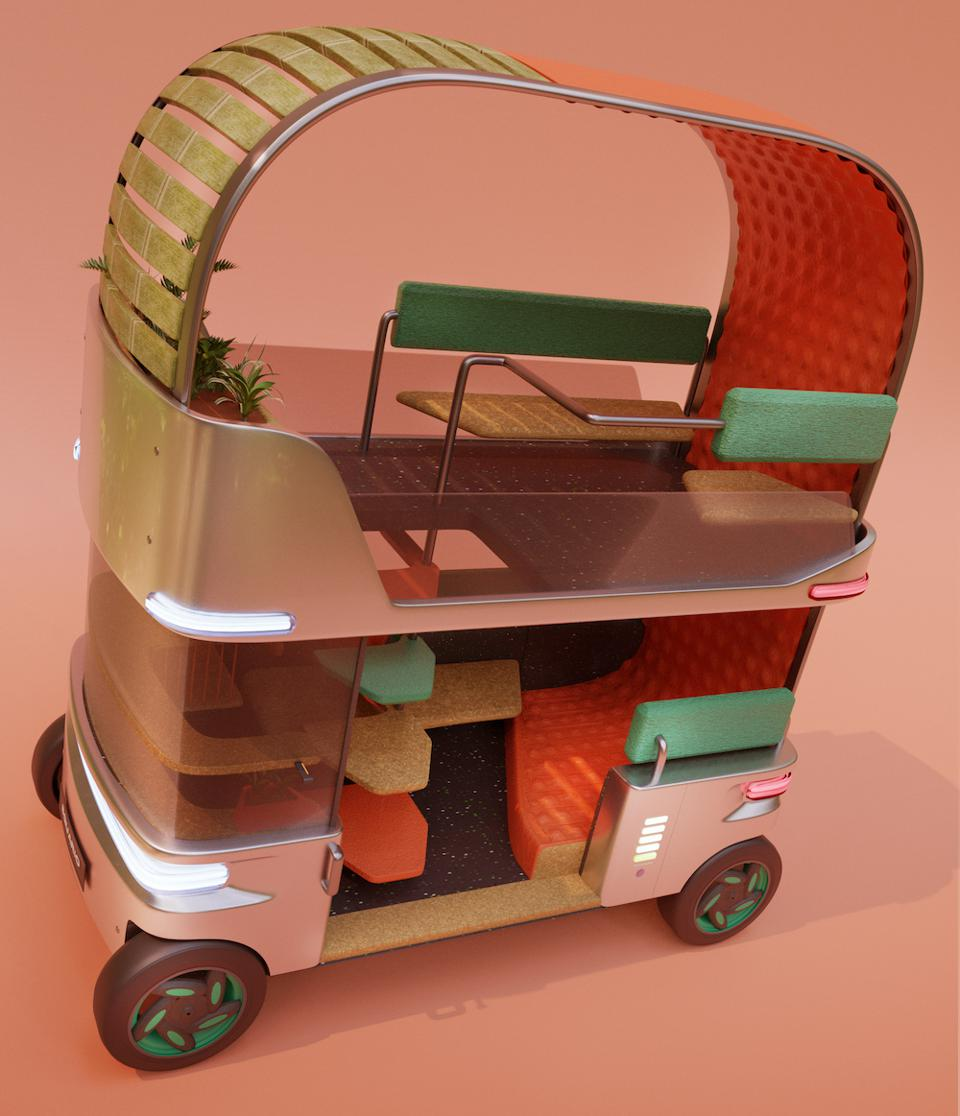 Corentin Janel's open-space electric cab is designed to meet the needs of Rio de Janeiro residents