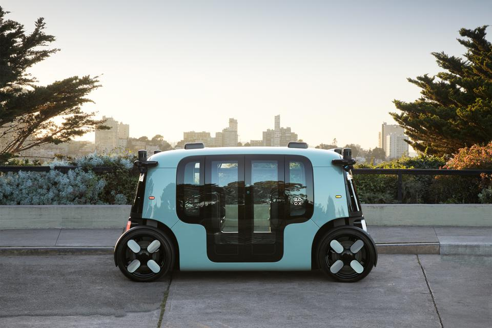 Zoox vehicle at Coit Tower in San Francisco