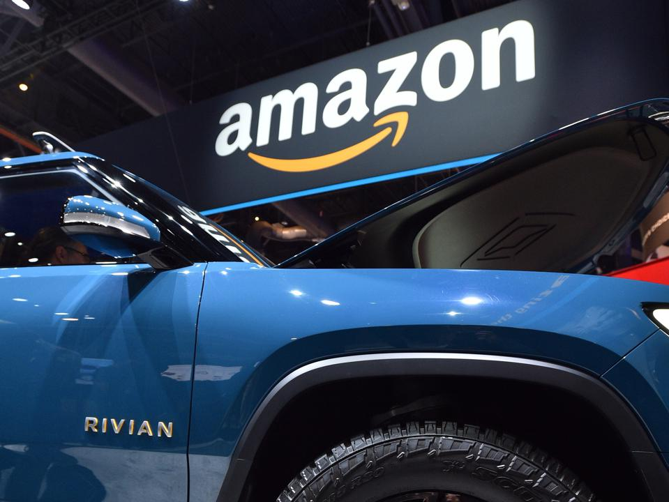 Rivian R1T at the Amazon booth at CES 2020