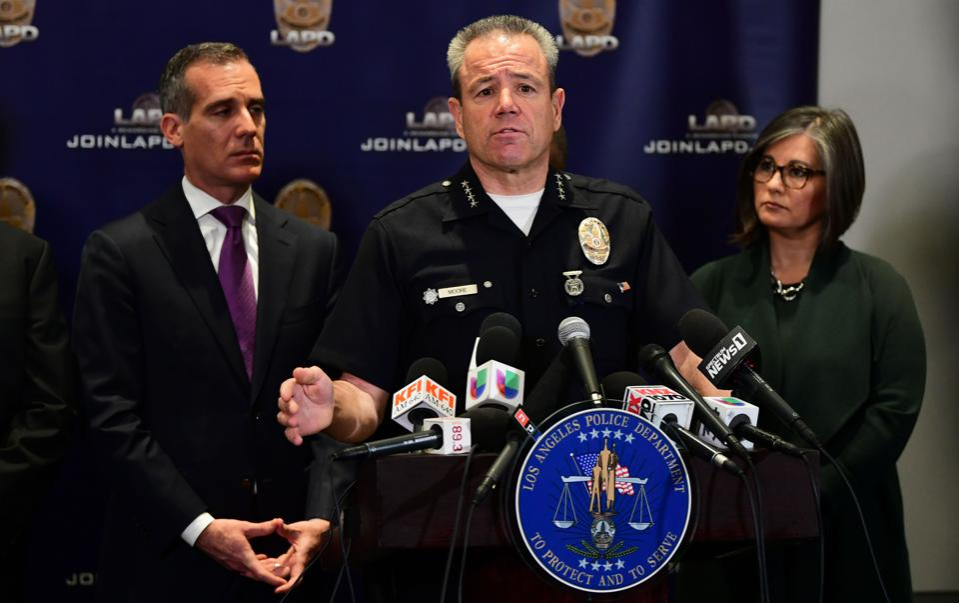 Garcetti and Moore at a LA press conference.