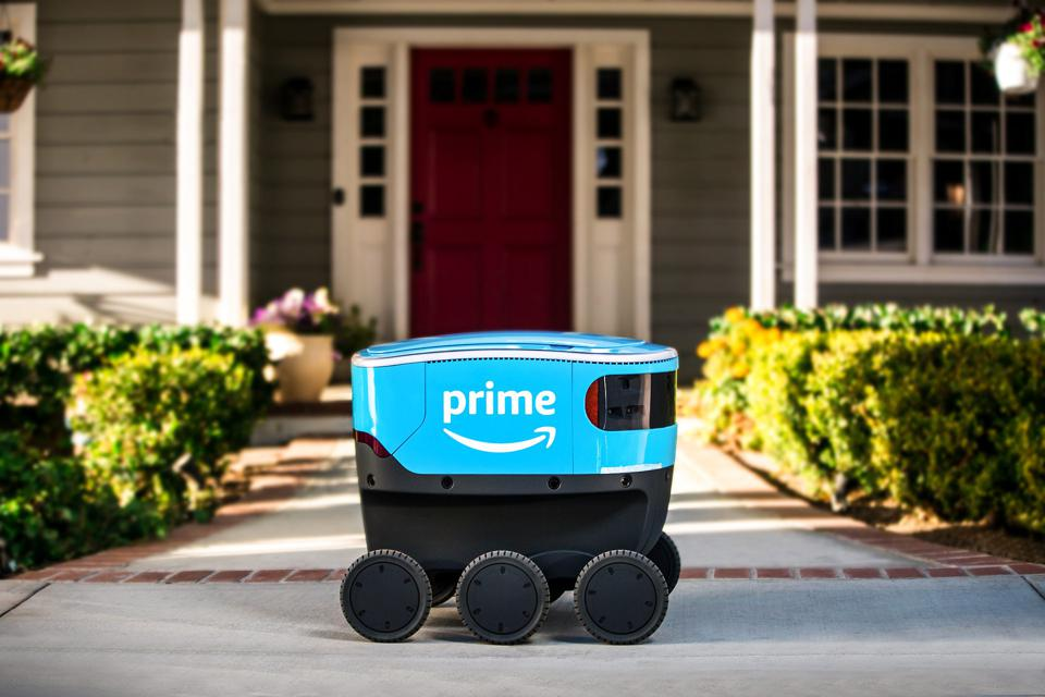 Amazon Scout self-driving delivery robot on a sidewalk