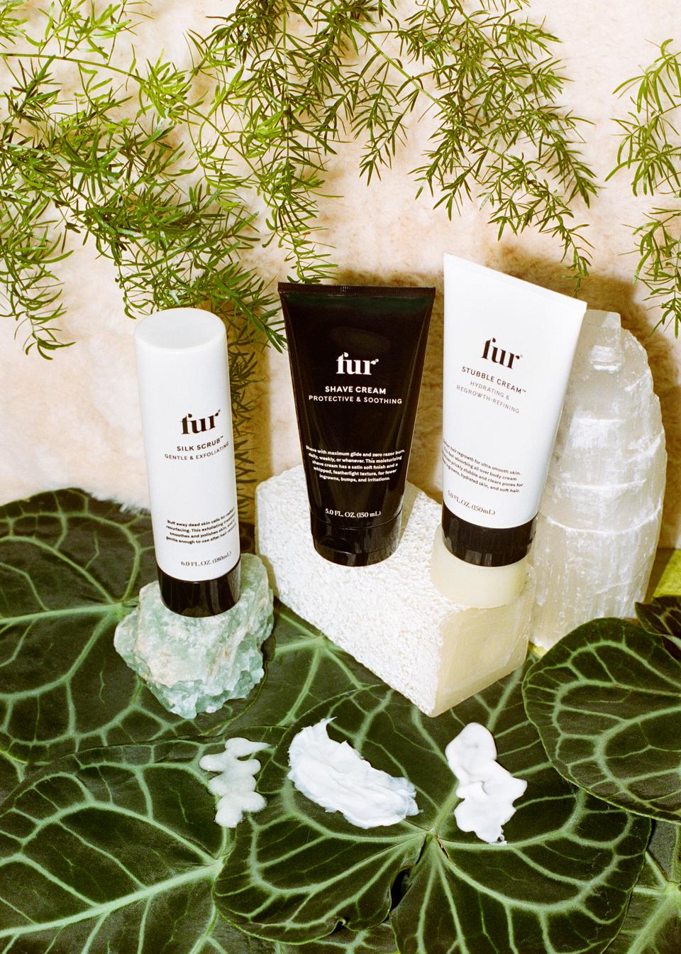 Three full sized Fur products of Silk Scrub, Shave Cream and Stubble Cream that work together to prep and protect for smooth & hydrated skin.