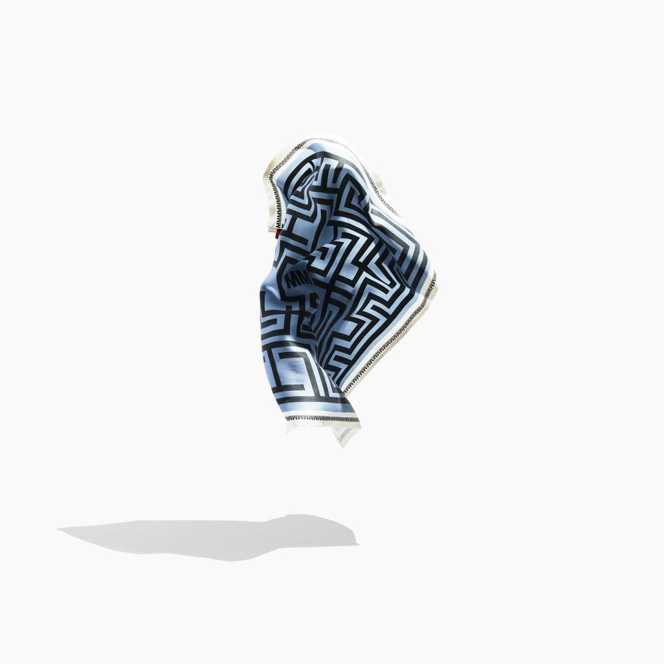 Luxury Blue Maze Silk Bandana