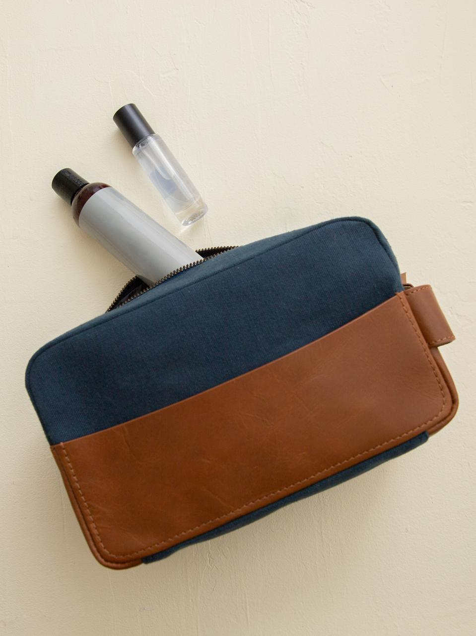 A stylish way to keep your toiletries whether you're traveling or not.