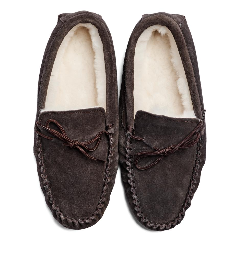 Piglet x WoolOvers Mens Sheepskin Moccasin Slipper in Brown. Available in additional styles and colors for both men and women.