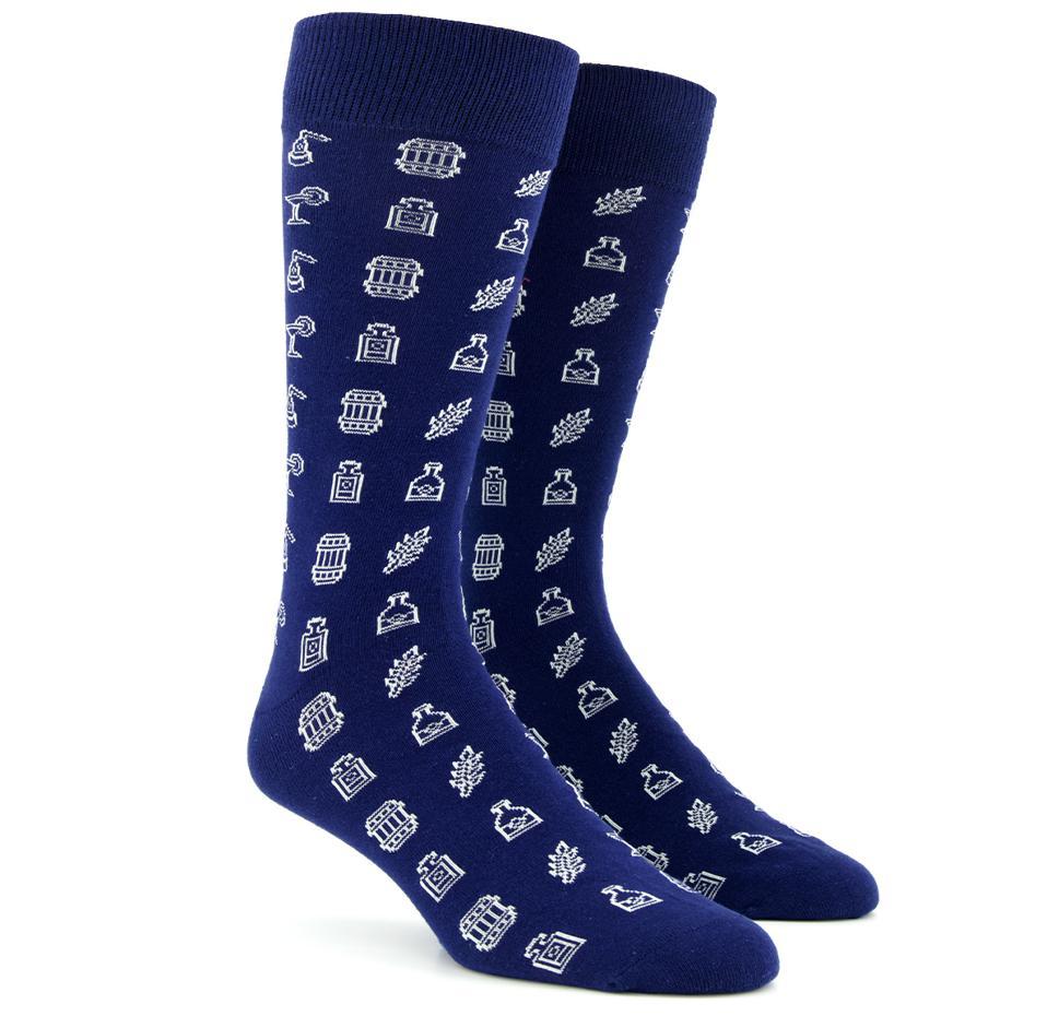 Spirit Hub X Tie Bar Top Shelf Navy Dress Socks