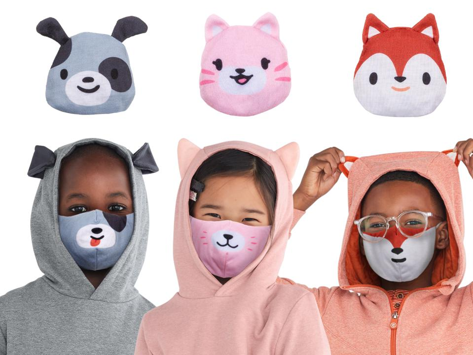 Three kids pose in animal face masks with matching wristlets of animals pictured above them.