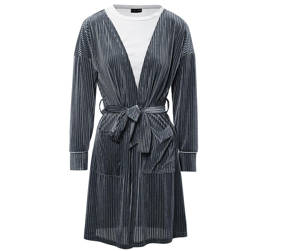 A soft luxurious robe with a loose fit.