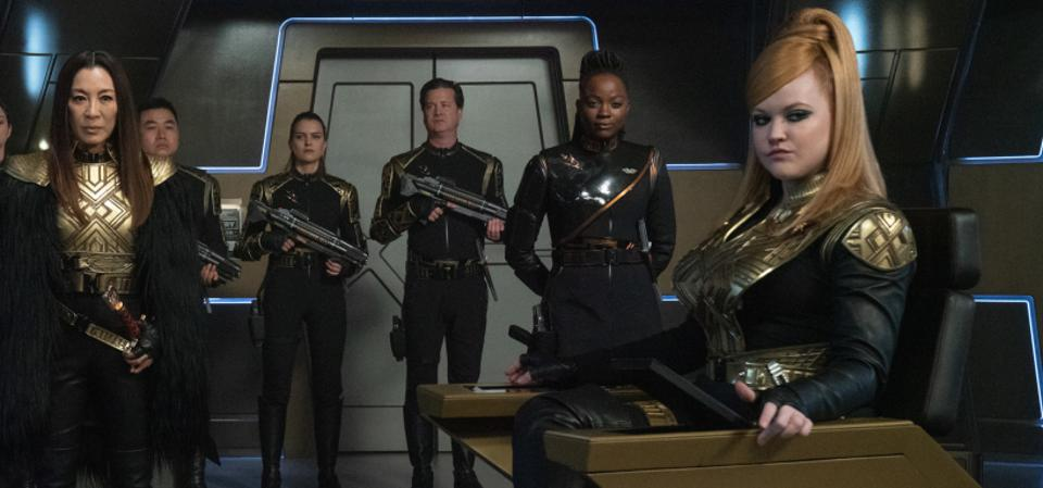Captain Killy commands the bridge of the I.S.S. Discovery in the Mirror Universe of Star Trek.