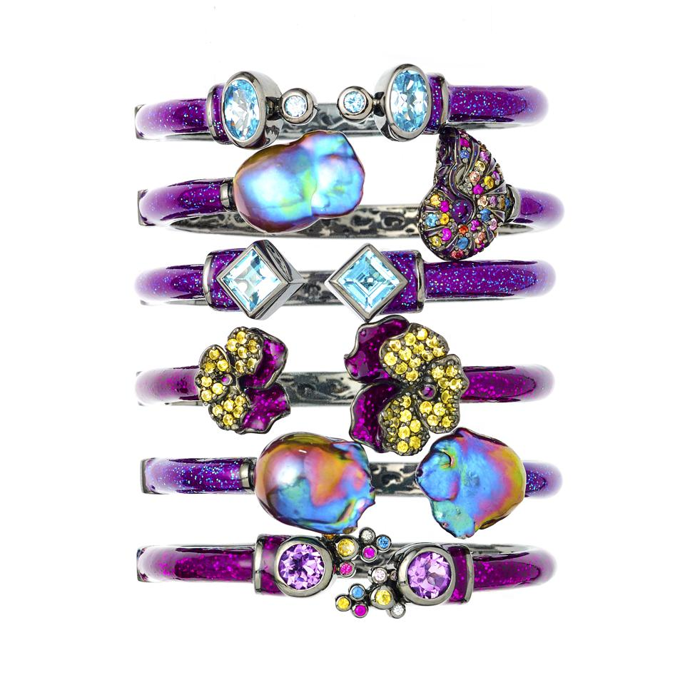 Psychedelic pearls and colored gemstones set in sterling silver bracelets by M.C.L Design