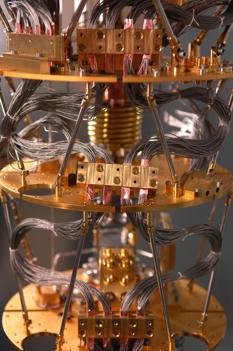 A quantum computer getting wired up