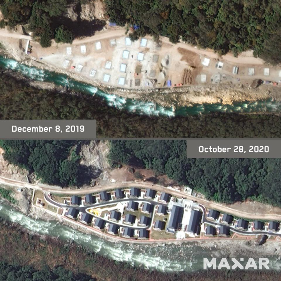 Maxar satellite image taken in October 2020 (bottom) shows the newly constructed Chinese village on the Bhutanese side of the disputed border, compared to the construction in December 2019 (top). WorldView Legion will expand Maxar's ability to monitor critical activities such as this in near-real time, no matter how remote the area is.