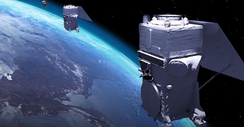Maxar artist's rendering of WorldView Legion satellites