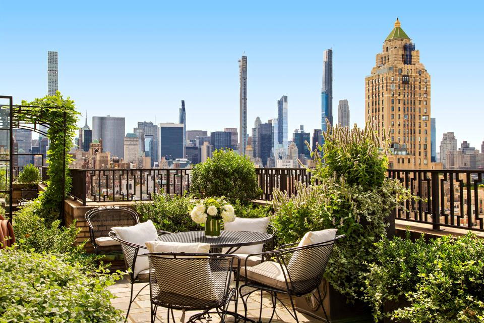 The terrace of a New York penthouse.