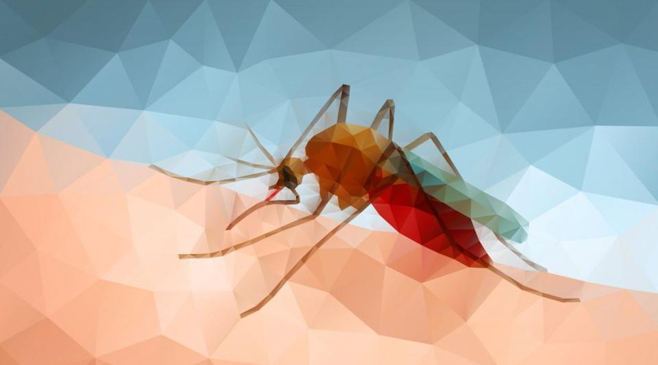 Artistic drawing of red mosquito biting caucasian skin with blue background.