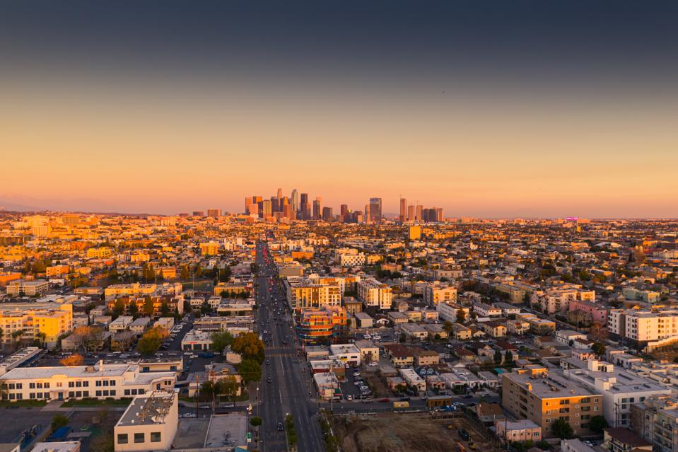 Los Angeles downtown aerial view at sunset