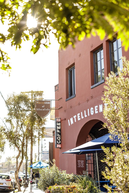 Chicago coffee company Intelligentsia's outdoor patio in Silver Lake Los Angeles.
