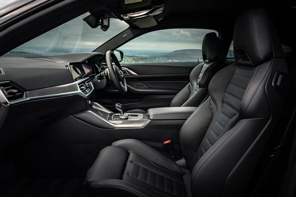 Front seats and dashboard of the 2020 BMW 4 Series Coupe