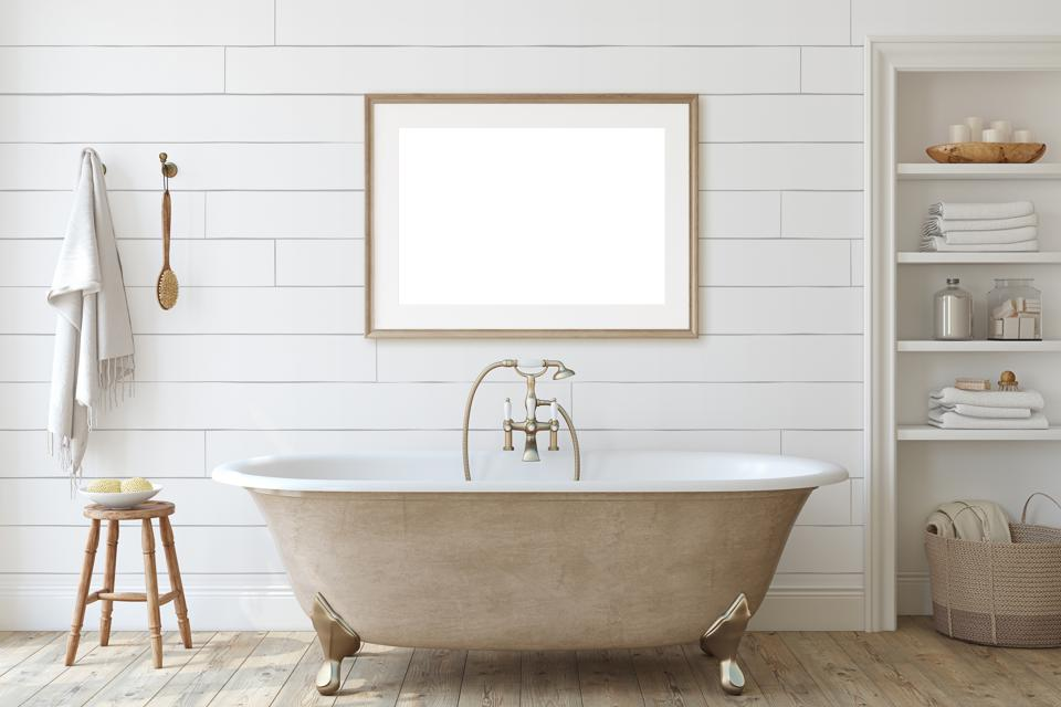 Farmhouse bathroom with shiplap wall. 3d render.