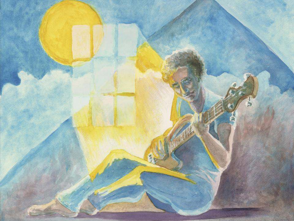 A watercolor painting of a man playing th bass guitar in front of a blue sky.