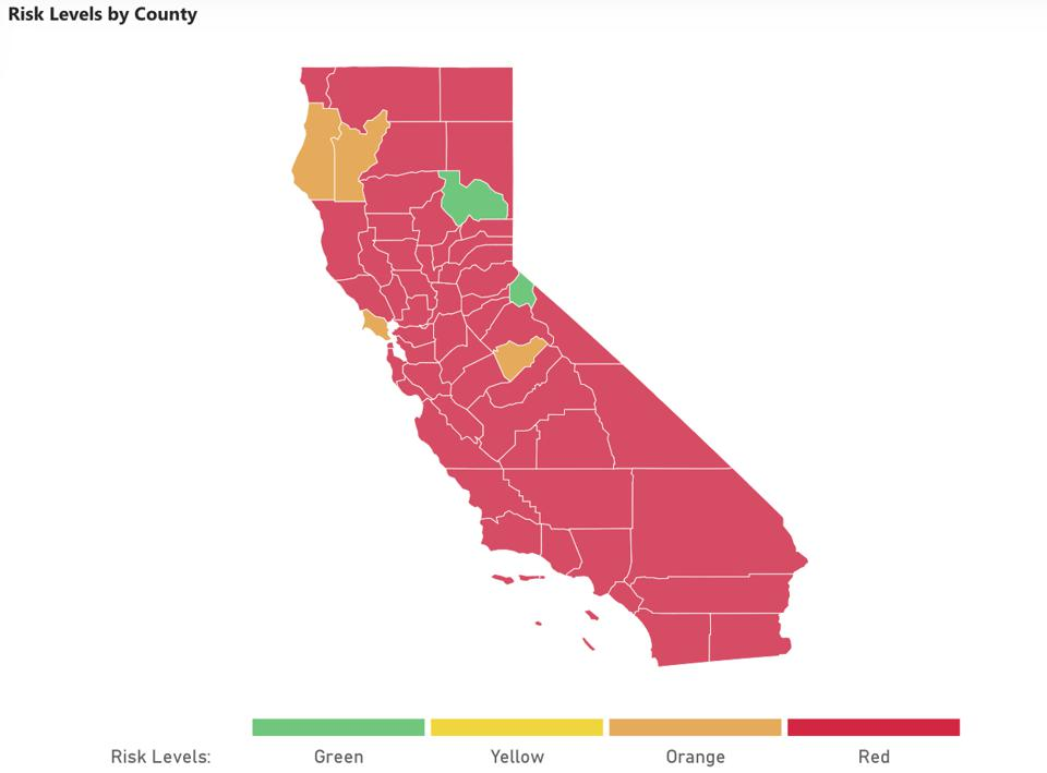 Map depicting risk levels of California counties and table of counties with highest risk.