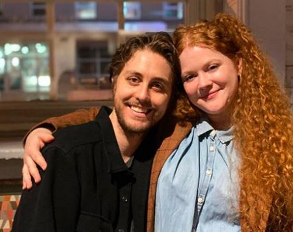 Husband and wife and now co-stars embrace: Noah Averback-Katz and Mary Wiseman