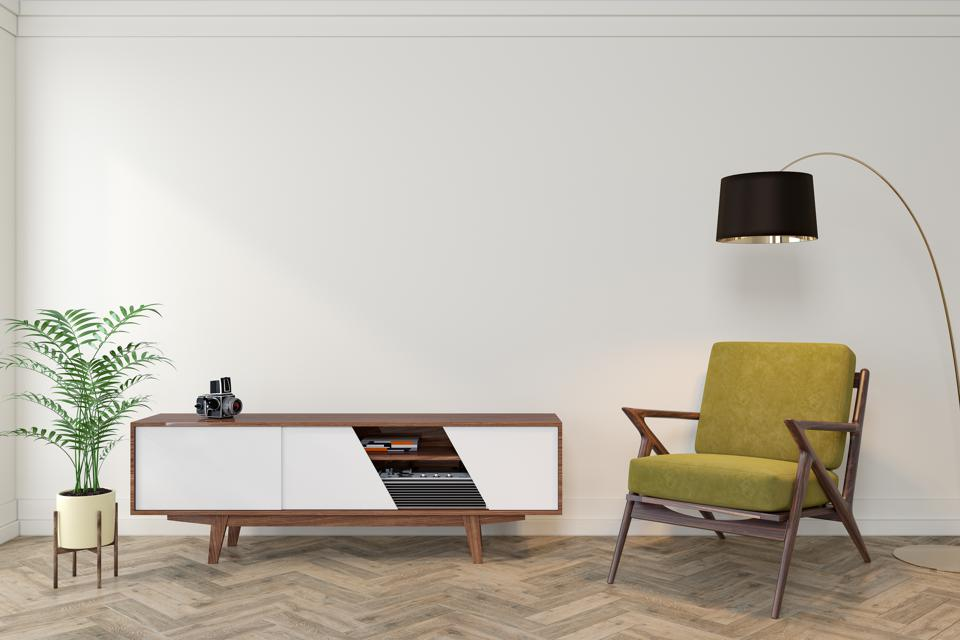 Mid century modern interior empty room with white wall, dresser, console, yellow lounge chair, armchair, floor lamp, wood floor. 3d render illustration mockup.