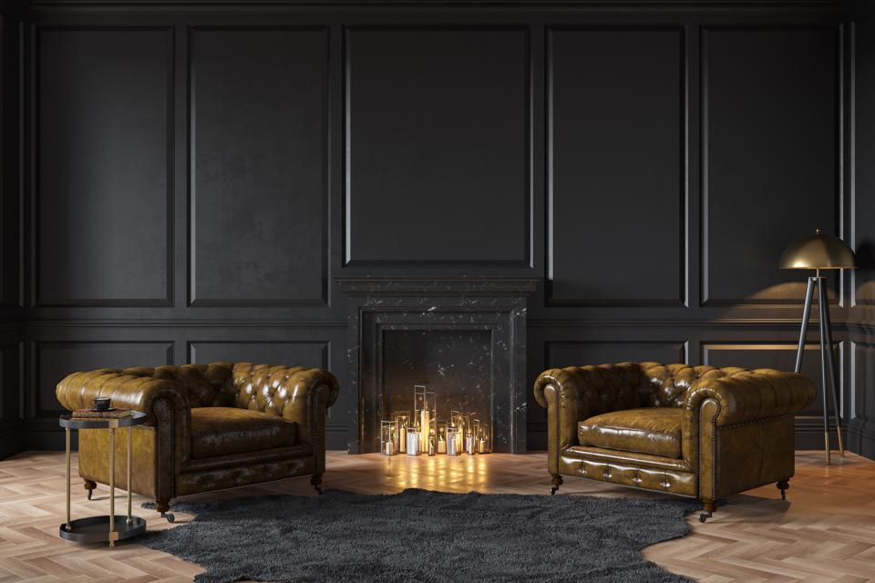 Black classic interior with fireplace, leather armchairs, carpet, candles. 3d render illustration mockup.