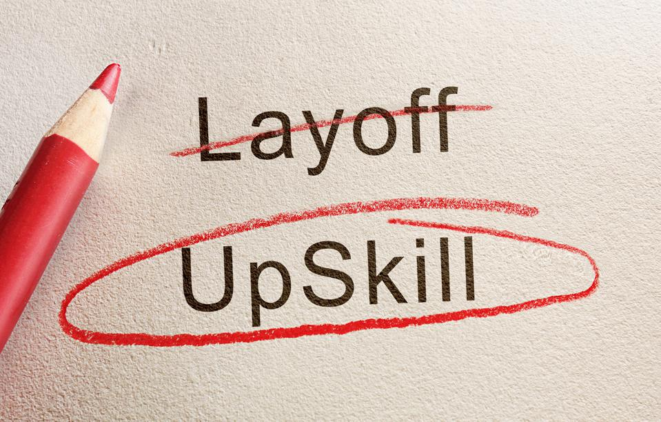 Upskill and job retraining concept
