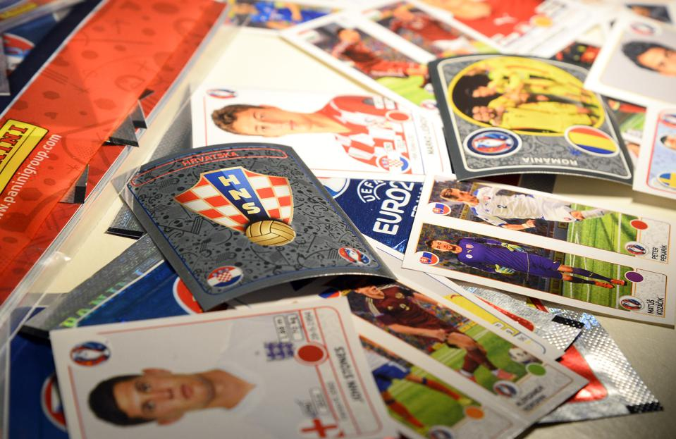 An image of popular Panini soccer trading stickers.