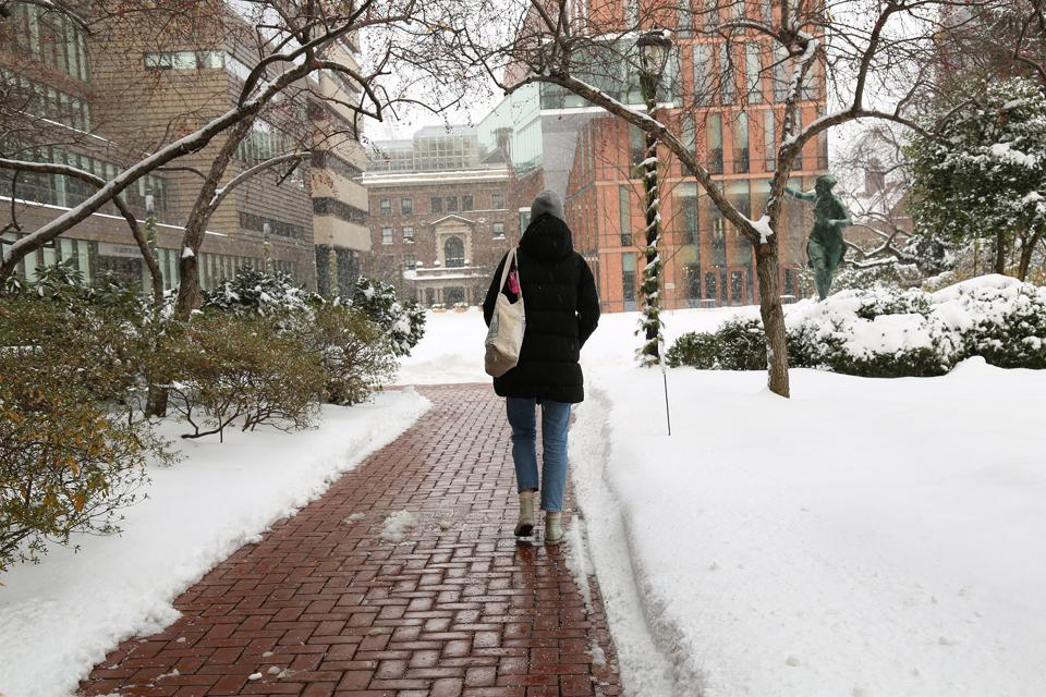 A woman takes a walk on Barnard College's campus