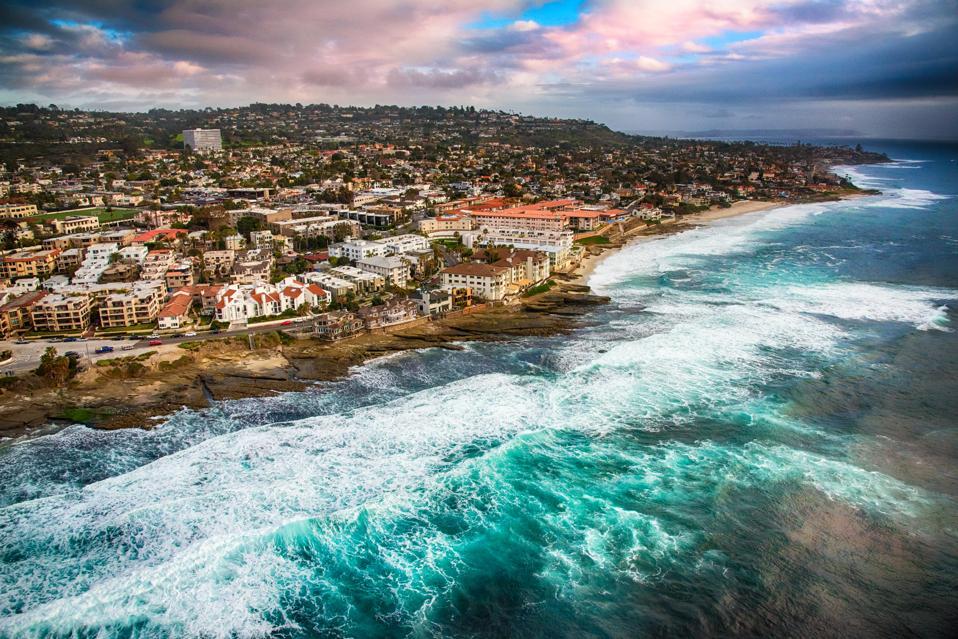 Rocky Shoreline of La Jolla California From Above